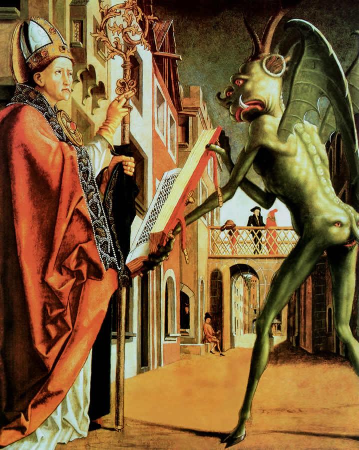 Michael Pacher, Der Teufel hält dem hl. Wolfgang das Messbuch, 1471–1475, Alte Pinakothek, München