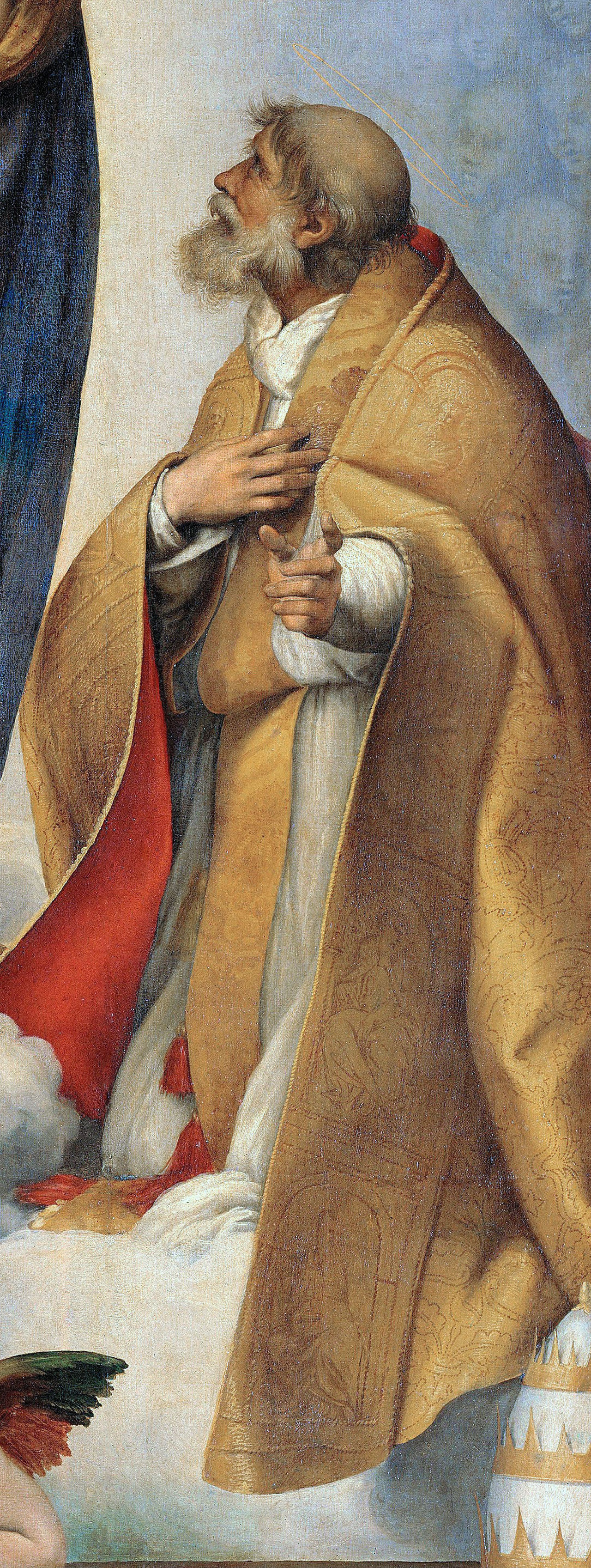 Papst Julius II. als Xystus II. auf der Sixtinischen Madonna von Raffael (gespiegelter Ausschnitt), 1512/13, Gemäldegalerie Alte Meister, Dresden