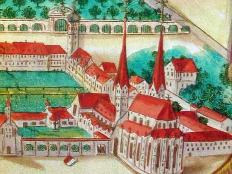 Darstellung des Augsburger Doms aus der Vogelperspektive (Umschlagsbild: Verein für Augsburger Bistumsgeschichte)