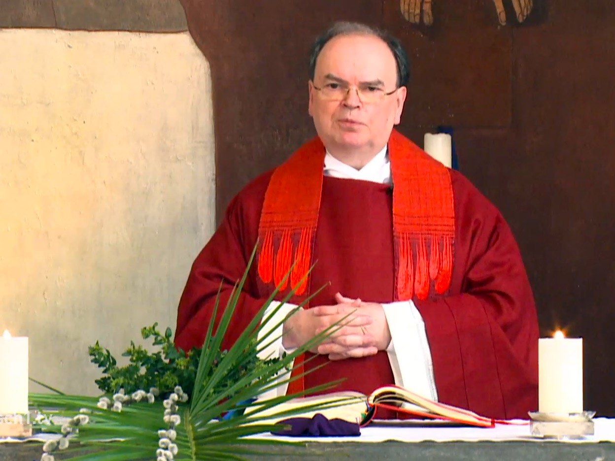 Der ernannte Bischof Bertram am Palmsonntag (Foto: Livestream katholisch1.tv)