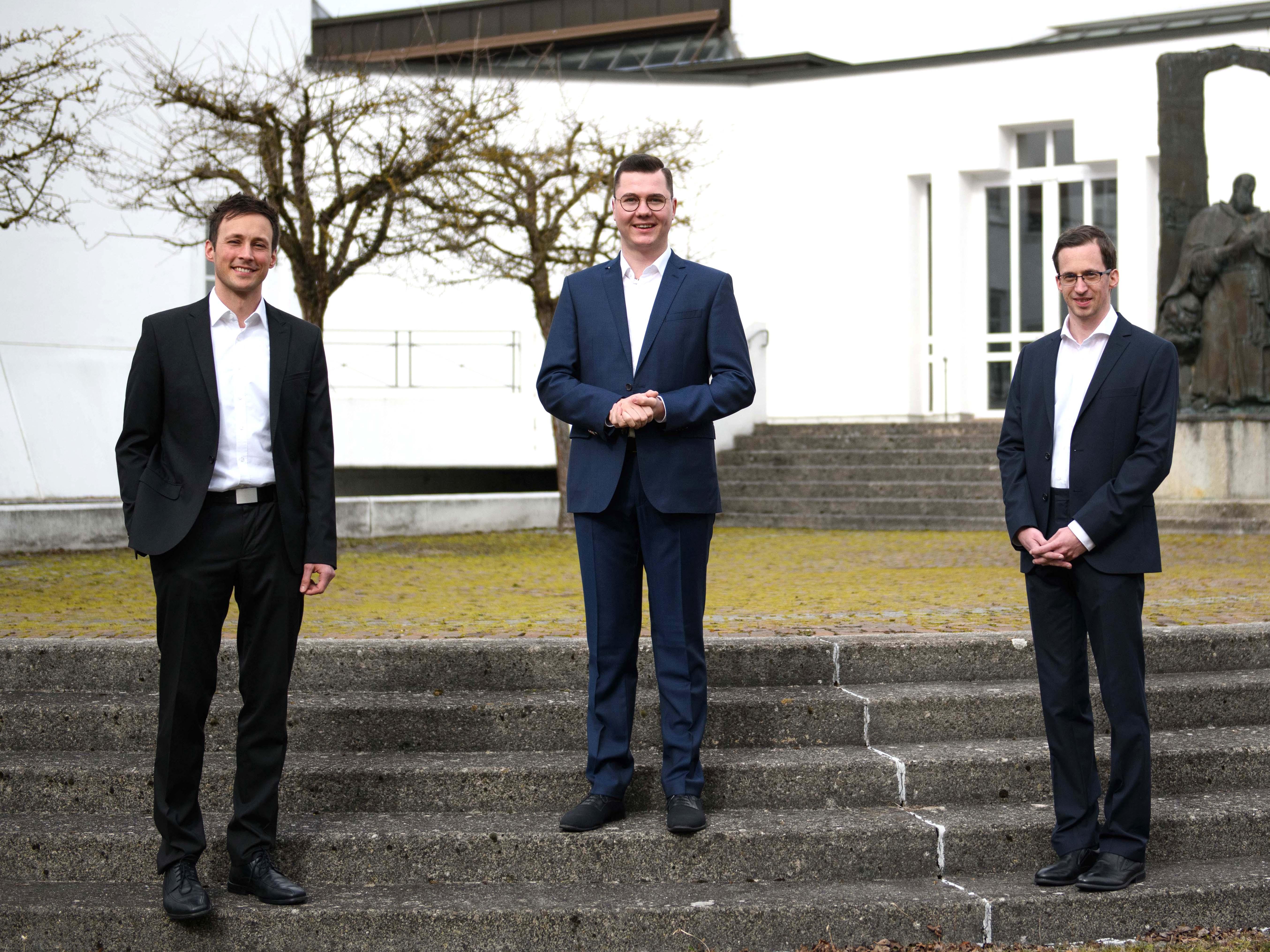 Die Kandidaten des Priesterseminars für die Diakonenweihe 2021 (v.l.): Roland Kiechle, Manuel Reichart, Markus Kraus (Foto: Daniel Jäckel / pba)