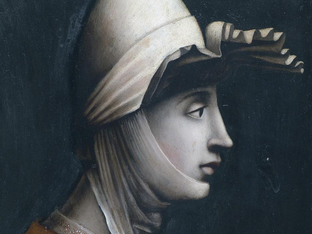 Mathilde von Tuszien († 1115), römische Schule der Mitte des 16. Jahrhunderts, Öl auf Schiefer, 49,5 x 36 cm. Motiv möglicherweise eine Erfindung des frühen 16. Jahrhunderts oder nach einem verlorenen Prototyp aus dem Hochmittelalter. (Bild: Auktionshaus Dorotheum / Wikipedia)