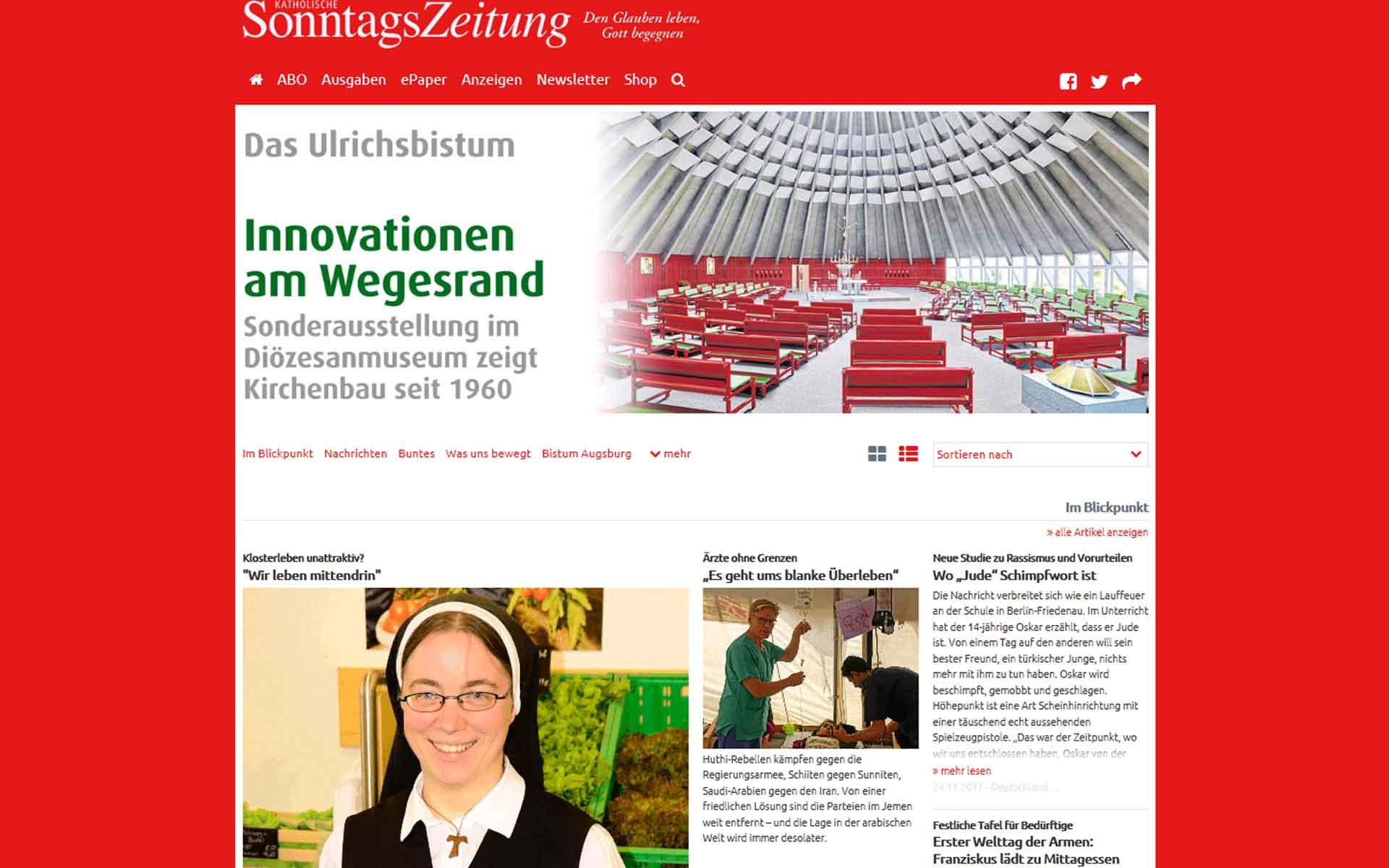 Screenshot von der neugestalteten Seite der Katholischen SonntagsZeitung.