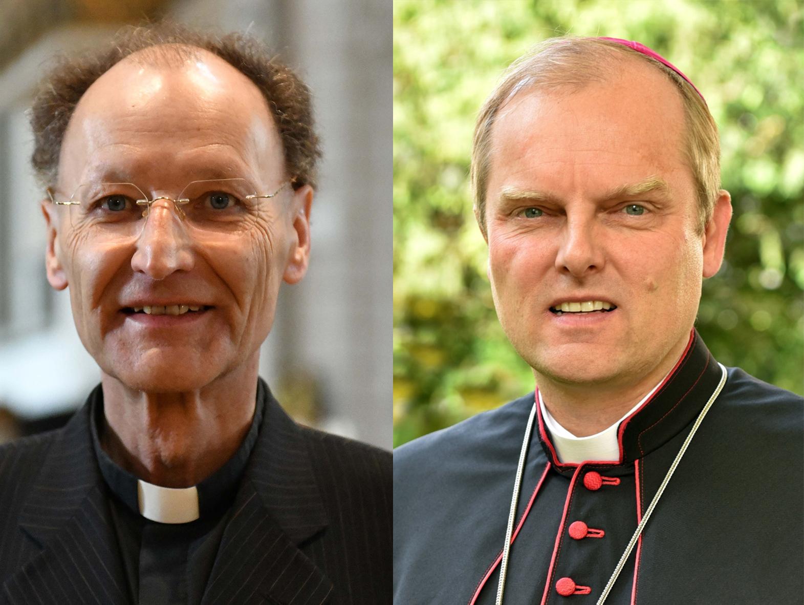 Der neue Domdekan Msgr. Dr. Wolfgang Hacker (links) und Weihbischof Florian Wörner, neuer Domkapitular (rechts). (Fotos: Daniel Jäckel; Nicolas Schnall / pba)