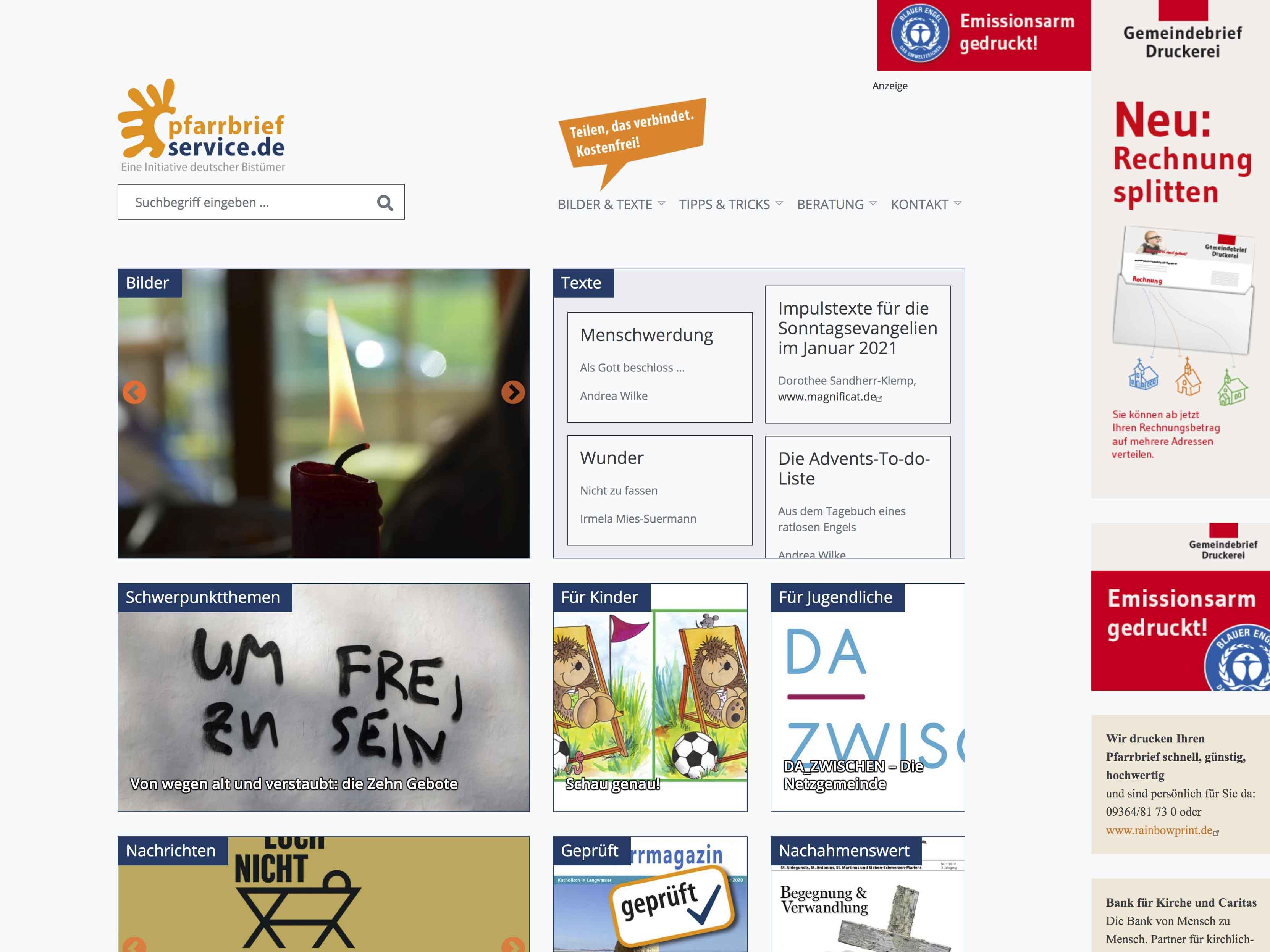 Screenshot von der neugestalteten Seite von Pfarrbriefservice.de (Bildquelle: pbs)