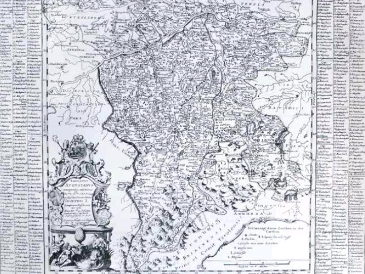 Ausschnitt Bistumskarte Joseph Ignaz Philipp von Hessen Darmstadt, Fürstbischof von Augsburg (1740-1768) (Foto: Archiv des Bistums).