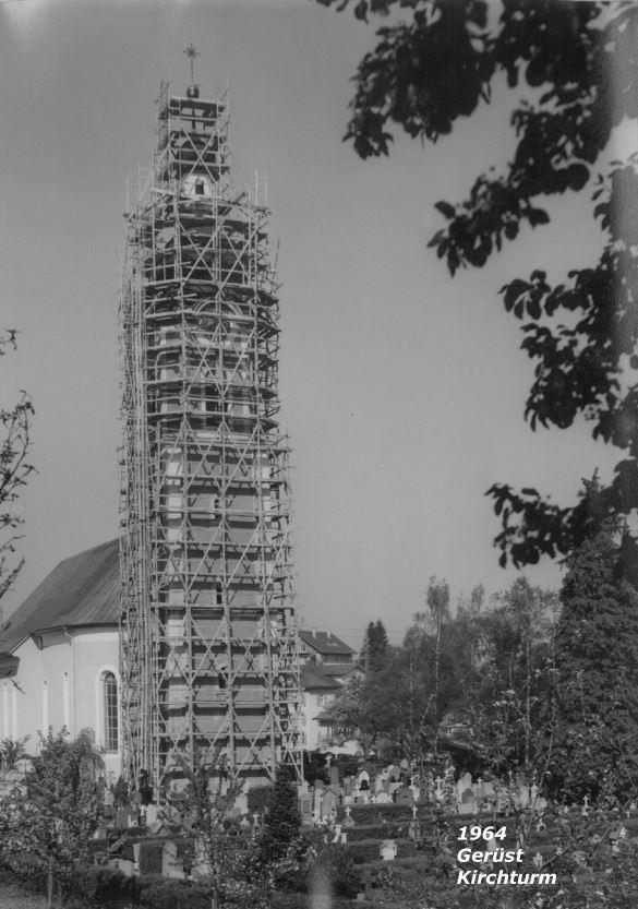 Gerüst Kirchturm 1964