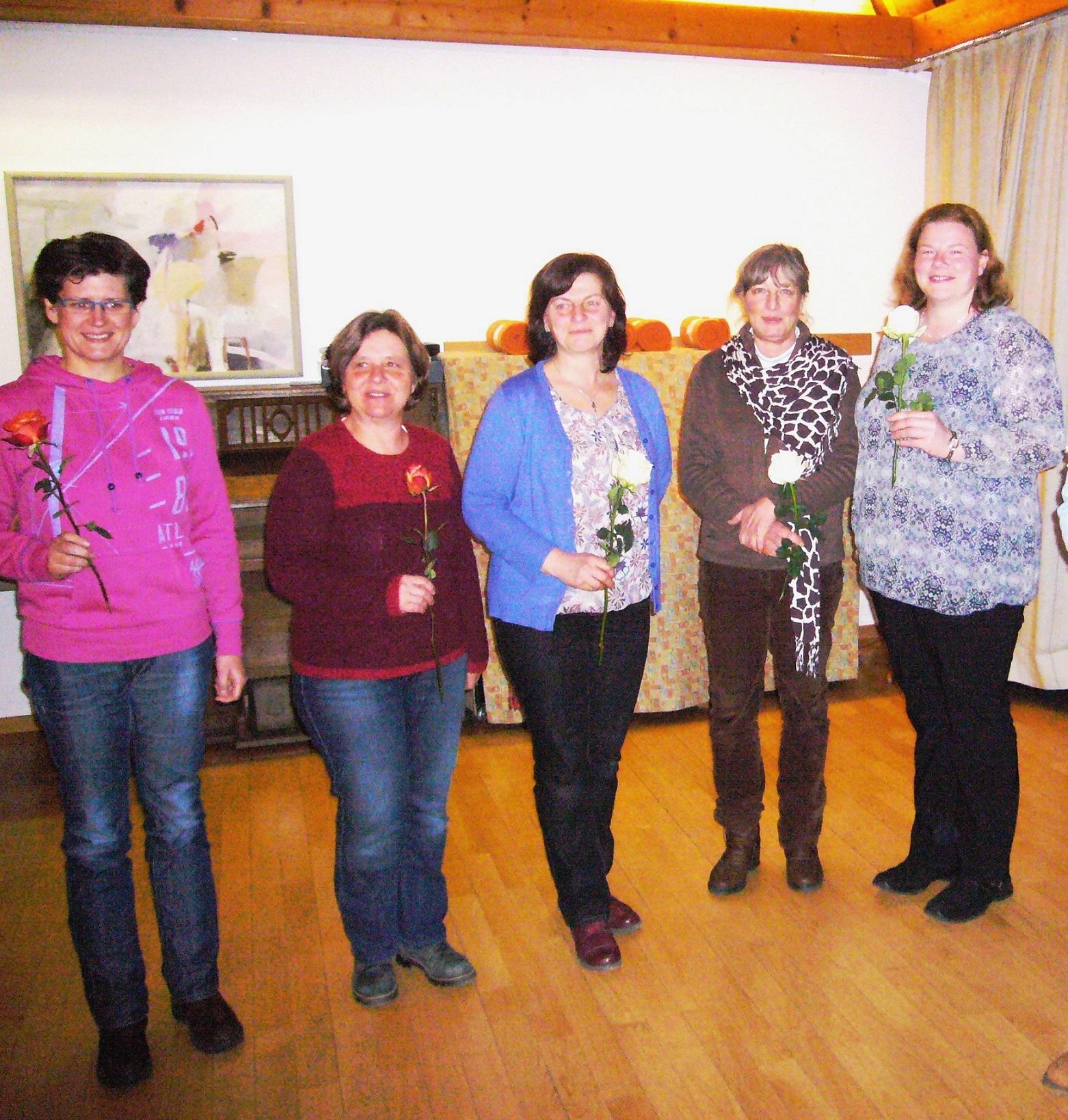 Die Damen des Vorstands v.l.n.r.: Claudia Krüger, Maria Diem, Lissi Widmann, Marianne Vögele, Irmi Baumgartner