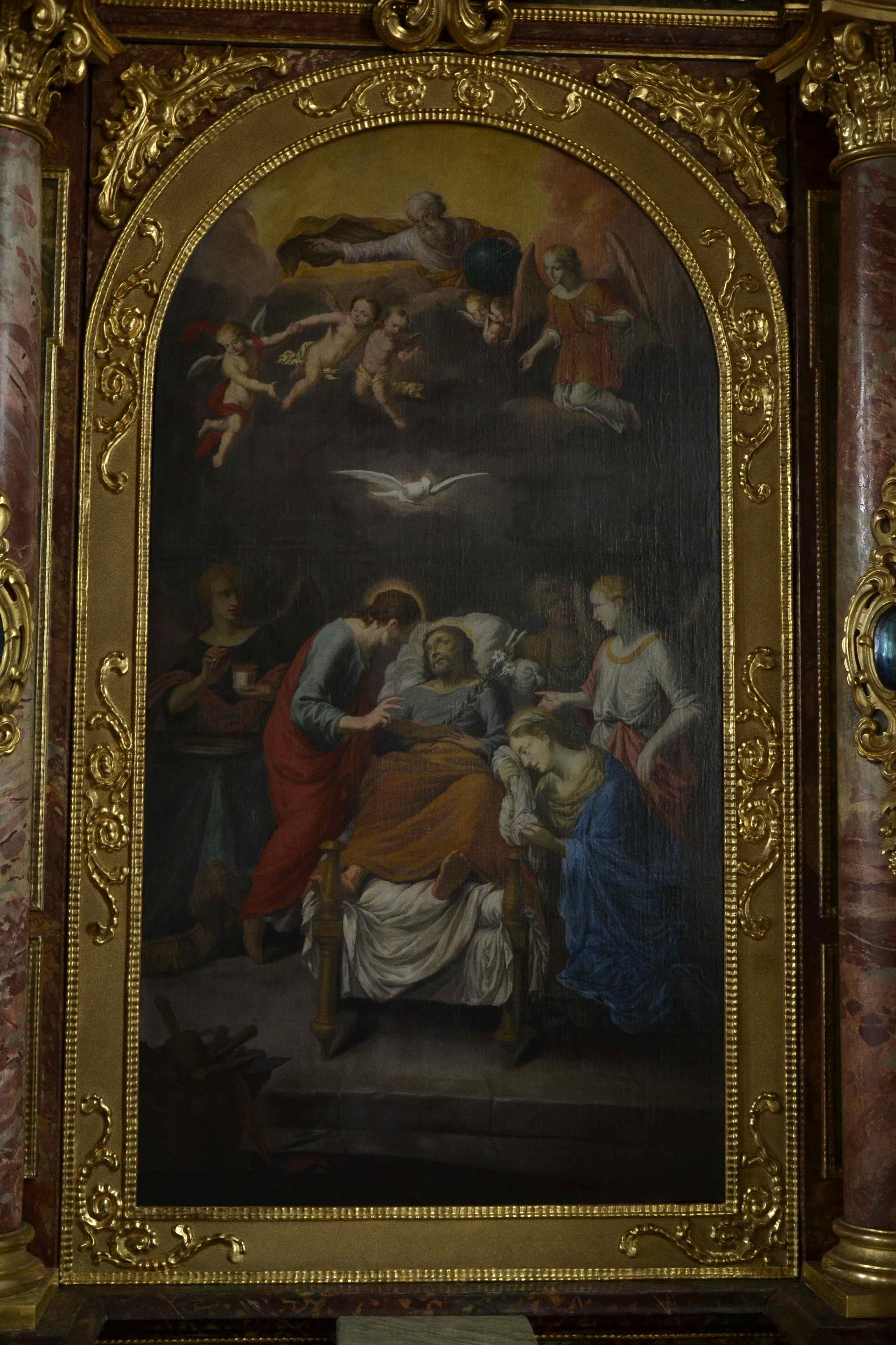 südlicher Seitenaltar: Tod des Heiligen Joseph, 1683 von Johann Friedrich Sichelbein, Memmingen