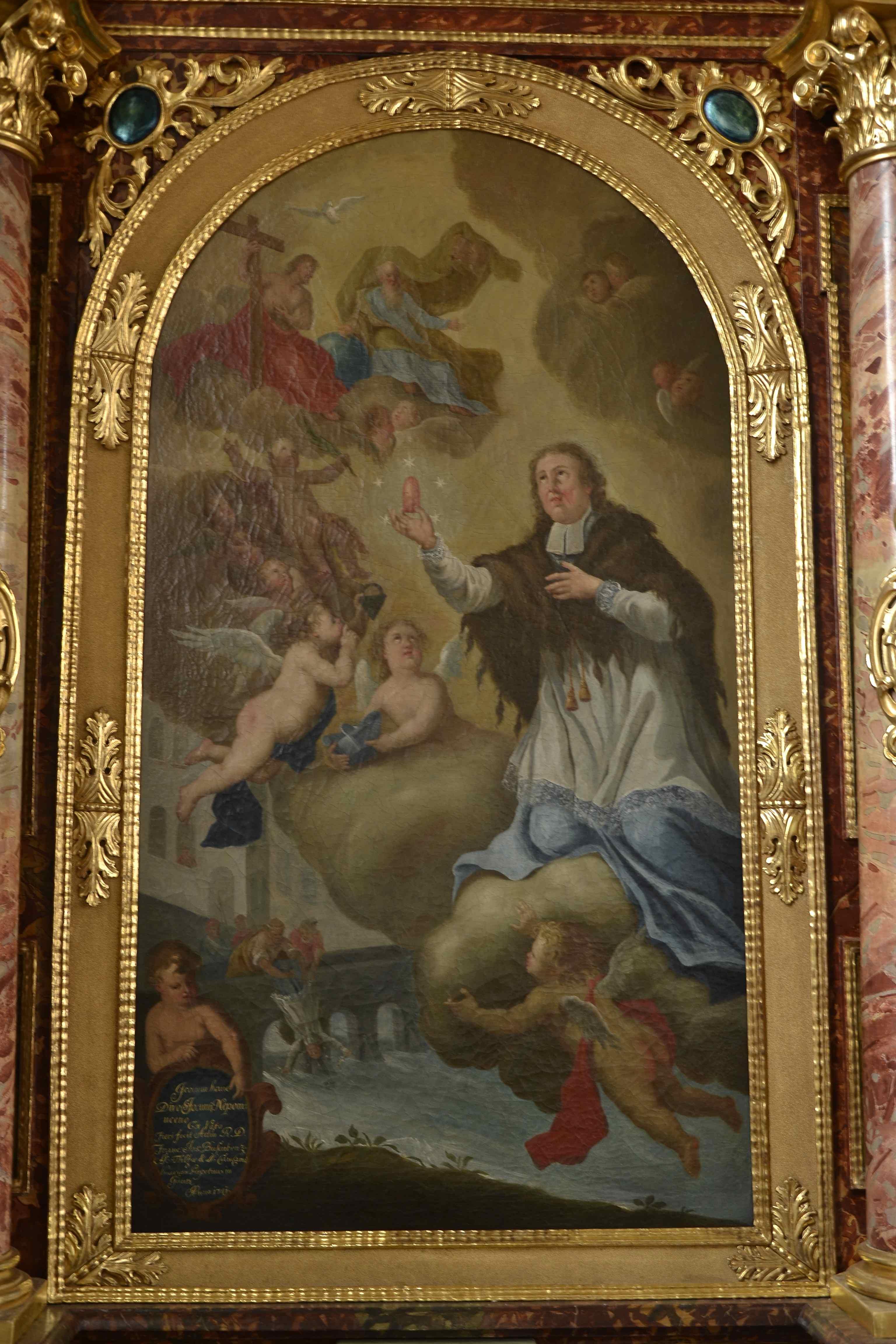 nördlicher Seitenaltär: Tod und Verklärung des Heiligen Johannes Nepomuk, 1741 gestiftet, wohl von Franz Anton Erler, Ottobeuren