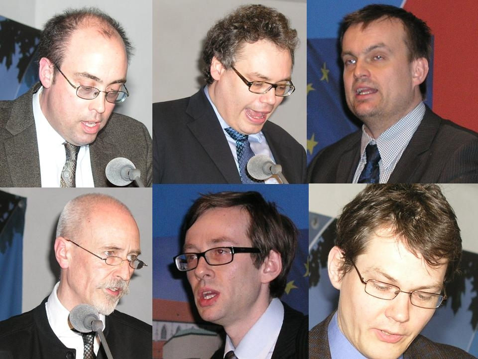 Die Referenten vom Freitag, 1. April 2011 (v. li. oben nach re. unten): Dr. Christof Paulus, PD Dr. Rainald Becker, Prof. Dr. Klaus Unterburger, Dr. Christoph Bellot, Dr. Manuel Teget-Welz, PD Dr. Thomas Krüger.